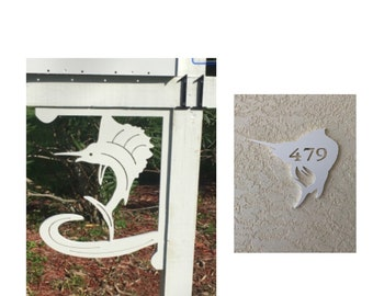 SAVE ON SETS! Sailfish Mailbox Bracket and House Number Sign - Large Bracket 16 x 21 inches, Sign 14 x 12 (approx)