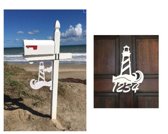 SAVE ON SETS! Lighthouse Mailbox Bracket and House Number Sign - Large Bracket 16 x 21 inches, Sign 9 x 13 inches (approx)
