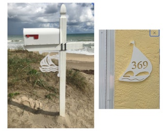 SAVE ON SETS! Sailboat Mailbox Bracket and House Number Plaque - Medium Bracket 12 x 16 inches, Plaque 10 x 12 inches (approx)