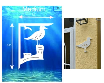 SAVE ON SETS! Seagull Mailbox Bracket and House Number Plaque - Medium Bracket 12 x 16 inches, Plaque 14 x 10 inches (approx)