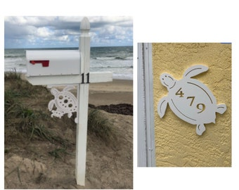 SAVE ON SETS! Turtle Original, Mailbox Bracket and House Number Plaque - Medium Bracket 12 x 16 inches, Plaque 14 x 13 inches (approx)