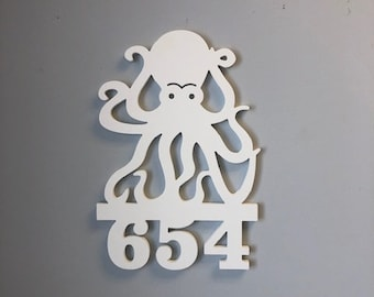 House Number Sign, Octopus, Address Sign, Custom, Personalized Sign, Housewarming Gift, Coastal, Tropical, Outdoor