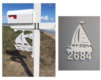 SAVE ON SETS! Sailboat Mailbox Bracket and House Number Sign - Large Bracket 16 x 21 inches, Sign 15 x 10 inches (approx)