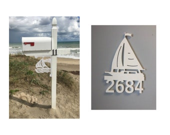 SAVE ON SETS! Sailboat Mailbox Bracket and House Number Sign - Medium Bracket 12 x 16 inches, Sign 15 x 10 inches (approx)