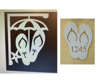 SAVE ON SETS! Flip Flops Mailbox Bracket and House Number Plaque - Large Bracket 16 x 21 inches, Plaque 12 x 14 inches (approx)