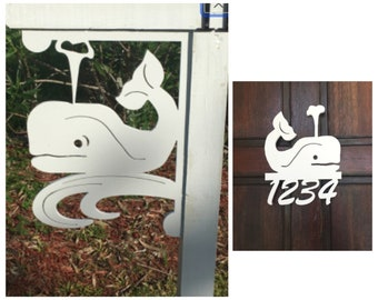 SAVE ON SETS! Whale (cute) Mailbox Bracket and House Number Sign - Large Bracket 16 x 21 inches, Sign 14 x 12 inches (approx)