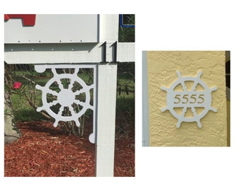 SAVE ON SETS! Ship's Wheel Mailbox Bracket and House Number Plaque - Medium Bracket 12 x 16 inches, Plaque 14 x 14 inches (approx)
