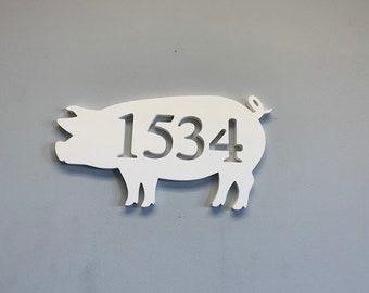 """House Number Plaque - Piggy, Personalized Sign, Outdoor Decor, Custom Sign, Address Plaque - Approx 14"""" x 9"""" wide"""