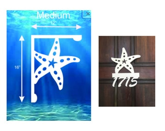 SAVE ON SETS! Starfish Mailbox Bracket and House Number Sign - Medium Bracket 12 x 16 inches, Sign 13 x 14 inches (approx)