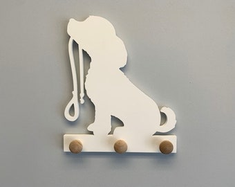 Coat Rack - Puppy W/Leash Design Coat Rack, Entryway Organizer, Key Holder, Leash Holder, Leash Hook, Leash Hanger, Dog Leash, Custom Gift