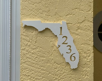 """House Number Plaque - Florida,  Personalized Sign, Outdoor Decor, Coastal Themed Custom Sign - Address Plaque - Approx 13"""" x 10"""" wide"""