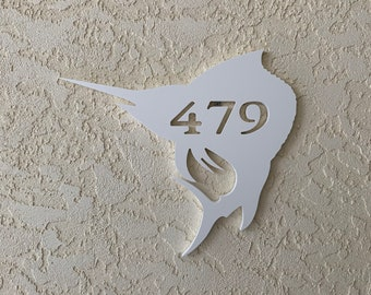 """House Number Plaque - Marlin, Personalized Sign, Outdoor Decor, Coastal Themed Custom Sign, Address Plaque - Approx 14"""" x 13"""" wide"""