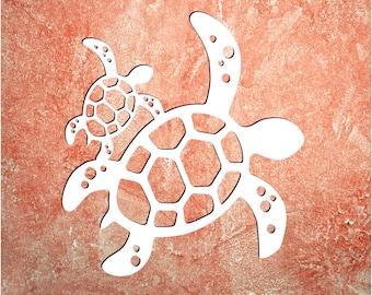 Wall Art, Turtle W/Baby 2021, Tropical, Outdoor Decor, Housewarming Gift, Custom, Coastal, Nautical, PVC Wall Art, Long Lasting