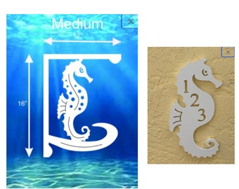 SAVE ON SETS! Seahorse Mailbox Bracket and House Number Plaque - Medium Bracket 12 x 16 inches, Plaque 7 x 13 inches (approx)