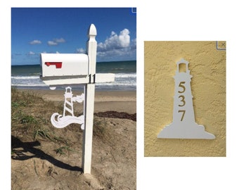 SAVE ON SETS! Lighthouse Mailbox Bracket and House Number Plaque - Large Bracket 16 x 21 inches, Plaque 14 x 9 (approx)