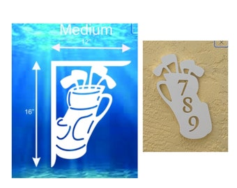 SAVE ON SETS! Golf Bag Mailbox Bracket and House Number Plaque - Medium Bracket 12 x 16 inches, Plaque 9 x 13 inches (approx)