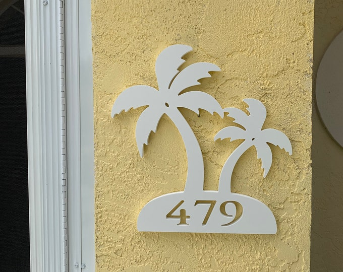 """Featured listing image: House Number Plaque - Palm Trees, Personalized Sign, Outdoor Decor, Coastal Themed Custom Sign, Address Plaque - Approx 14"""" x 13"""" wide"""