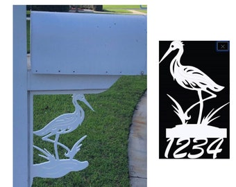 SAVE ON SETS! Heron Mailbox Bracket and House Number Sign - Large Bracket 16 x 21 inches, Sign 14 x 12 inches (approx)