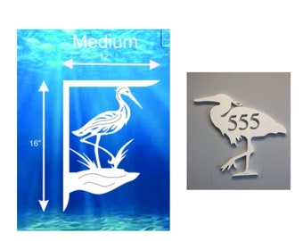 SAVE ON SETS! Heron Mailbox Bracket and House Number Plaque - Medium Bracket 12 x 16 inches, Plaque 14 x 12 inches (approx)