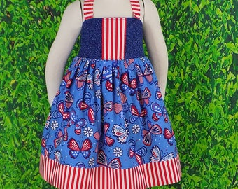 Girls Flags Sundress Summer Labor Patriotic Dress 4th July Dress Independence READY to SHIP Red Open Back Blue 4T Stars Halter