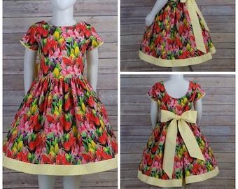 Girls Spring Dress, Girls Easter Dress, Girls Tulip Dress, Holland, Festival, Floral Dress, Flower, Fields, Cap Sleeve, Toddler, Tween, Teen