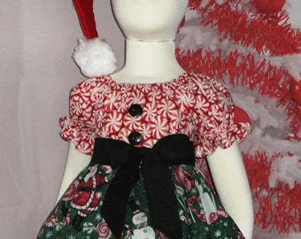3c51a11e3d78 12 - 18 month Christmas Dress, Toddler, Peppermint Swirl, Santa, Baby,  Candy Cane, Red, Green, Snowman, Holiday, Peasant Dress, Sleeve, RTS