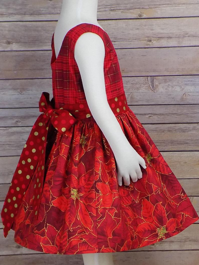 a2032779f87e Red Christmas Dress Plaid Christmas Dress Girls Poinsettia | Etsy