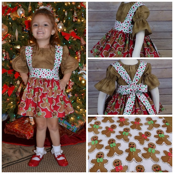 Toddler Christmas Outfit.Girls Gingerbread Dress Toddler Christmas Dress Boutique Outfit Red One Piece Peasant Dress Set Picture Sleeves Photos Santa
