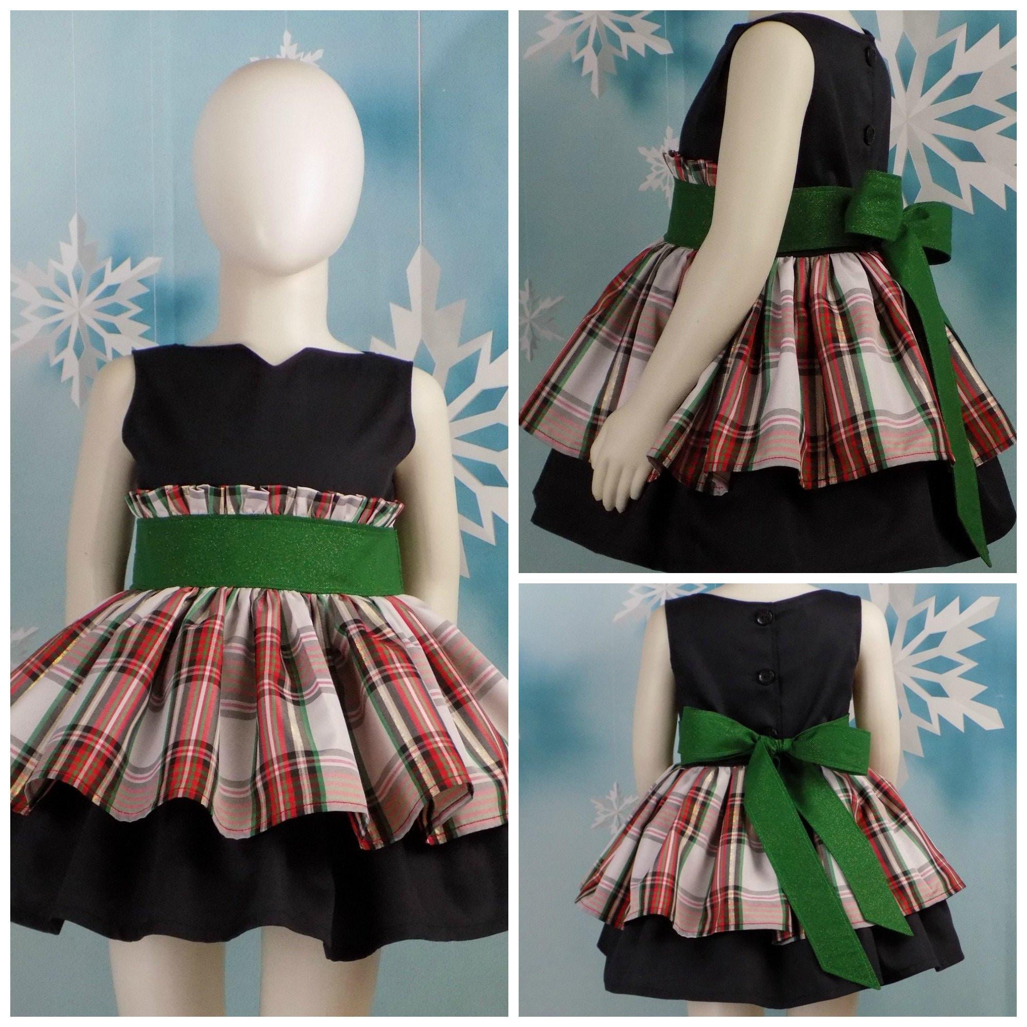 9c1fad95b5ab Girls Christmas Dress Plaid Holiday Pageant Wear OOC   Etsy