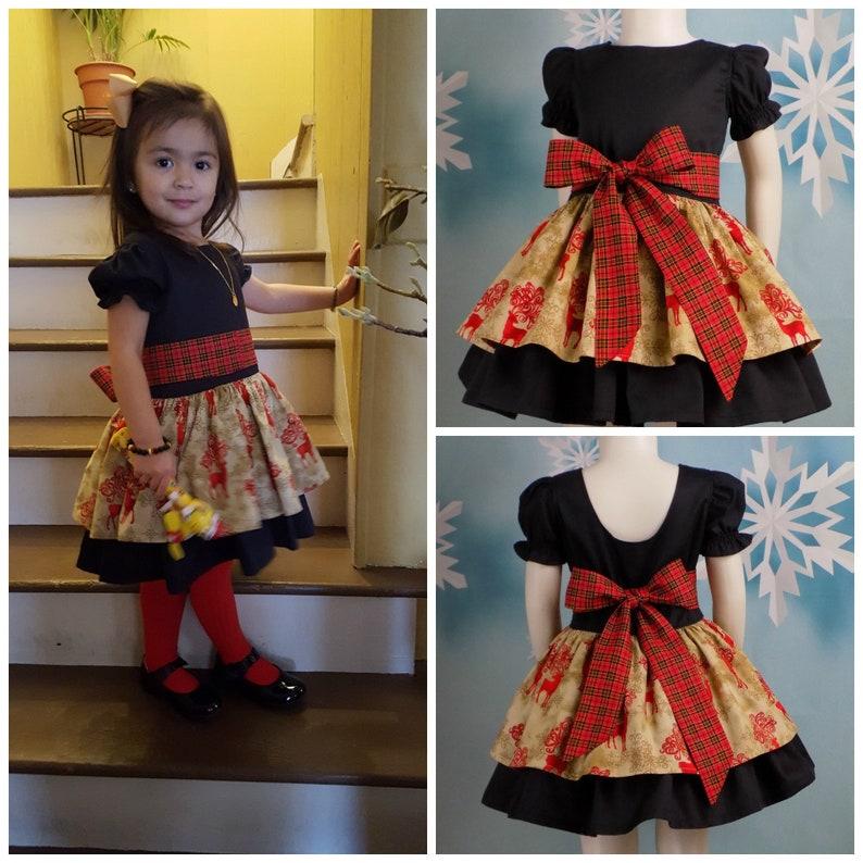 3fc30a619ad2d Plaid Christmas Dress Girls Reindeer Dress Black Gold | Etsy