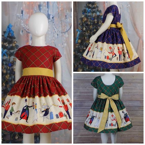 Vtg 1950s NEW NOS Winter Holiday XMas Red Green Plaid Circle Dress Girls Sz 7