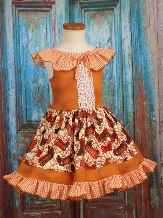 Cowgirl Dress Cowboy Boots Girls Western Wear Ooc Pageant Outfit Horse Rodeo Country Boutique Ruffles Gingham Toddler Tween