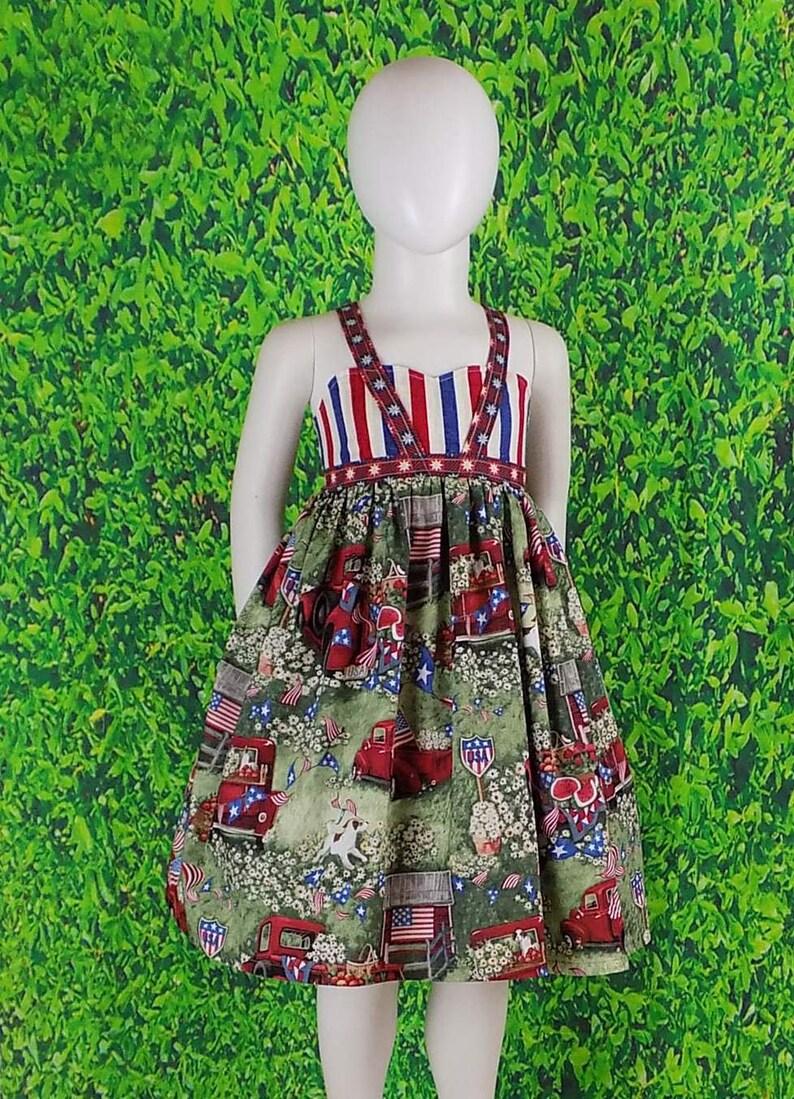 6c3423b165 Girls Patriotic Dress 4th of July Dress USA Red Truck