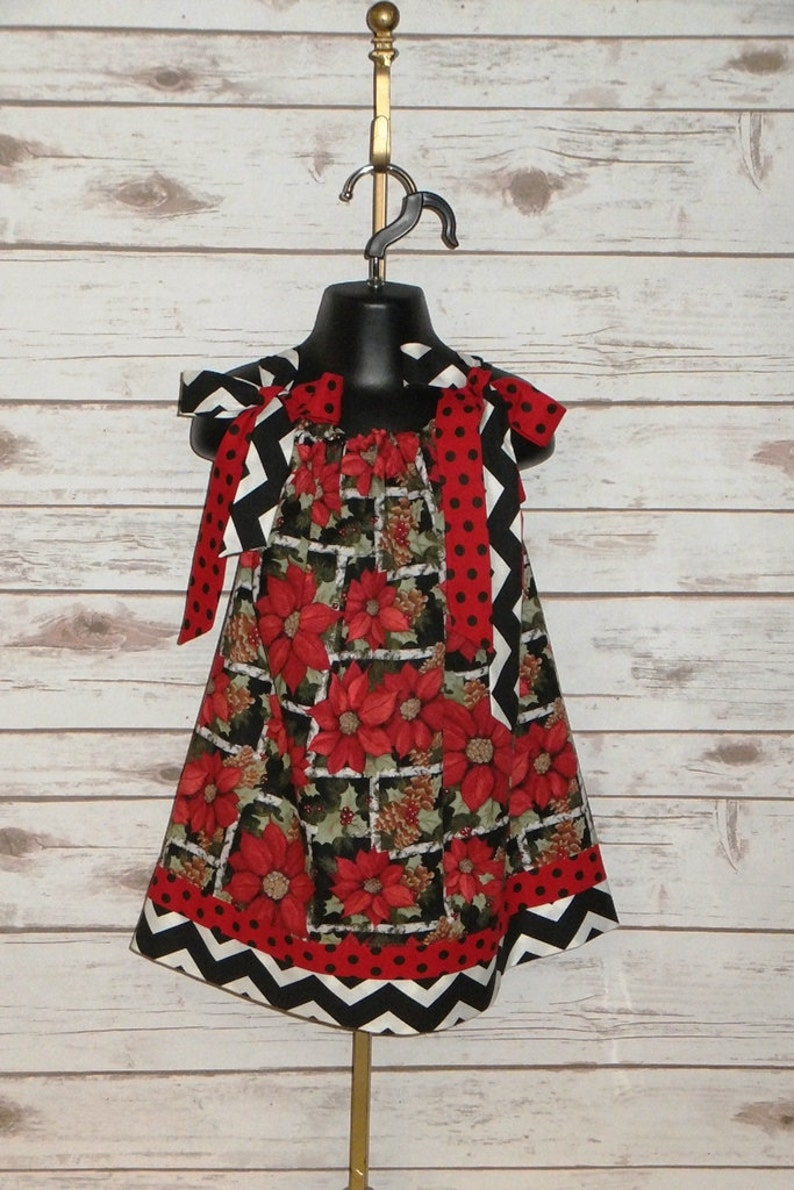 89a5f516593ae Girls Christmas Dress Poinsettia Toddler Red Black | Etsy