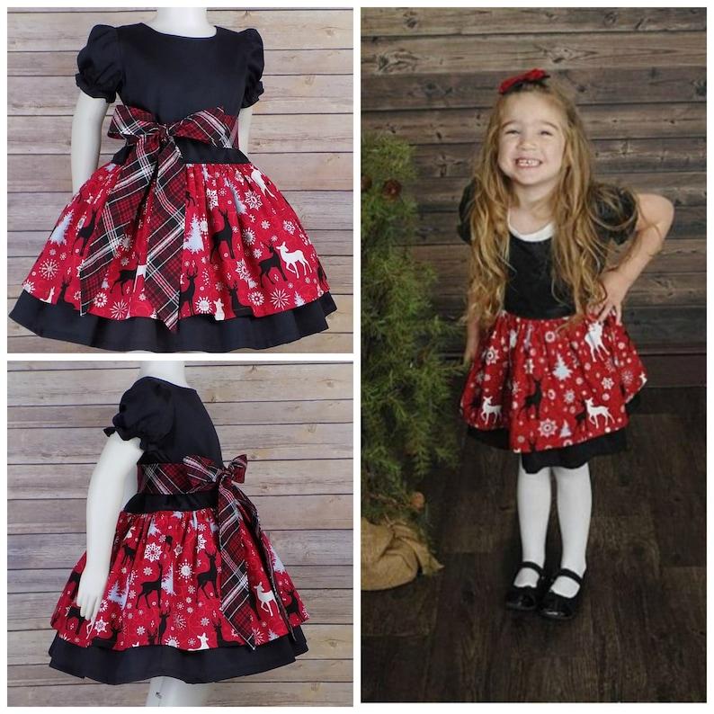 f8663ee530 Reindeer Christmas Dress Plaid Girls Party Fancy