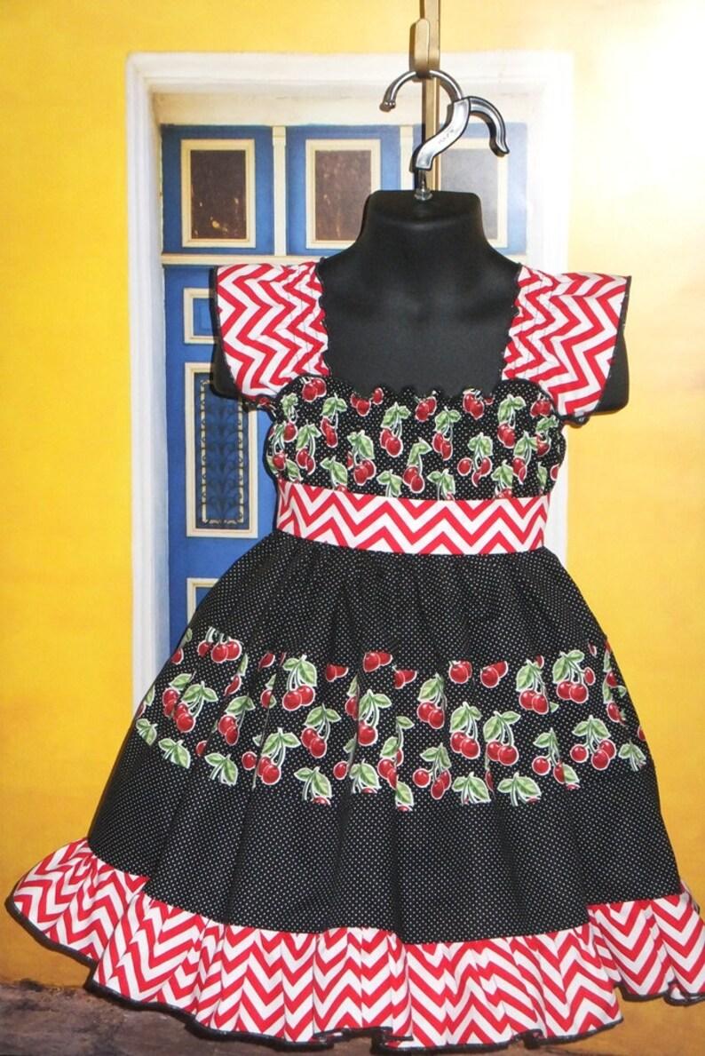 0e62c357e9ec Girls Dress with Cherries Red Black Toddler Cherry Dress