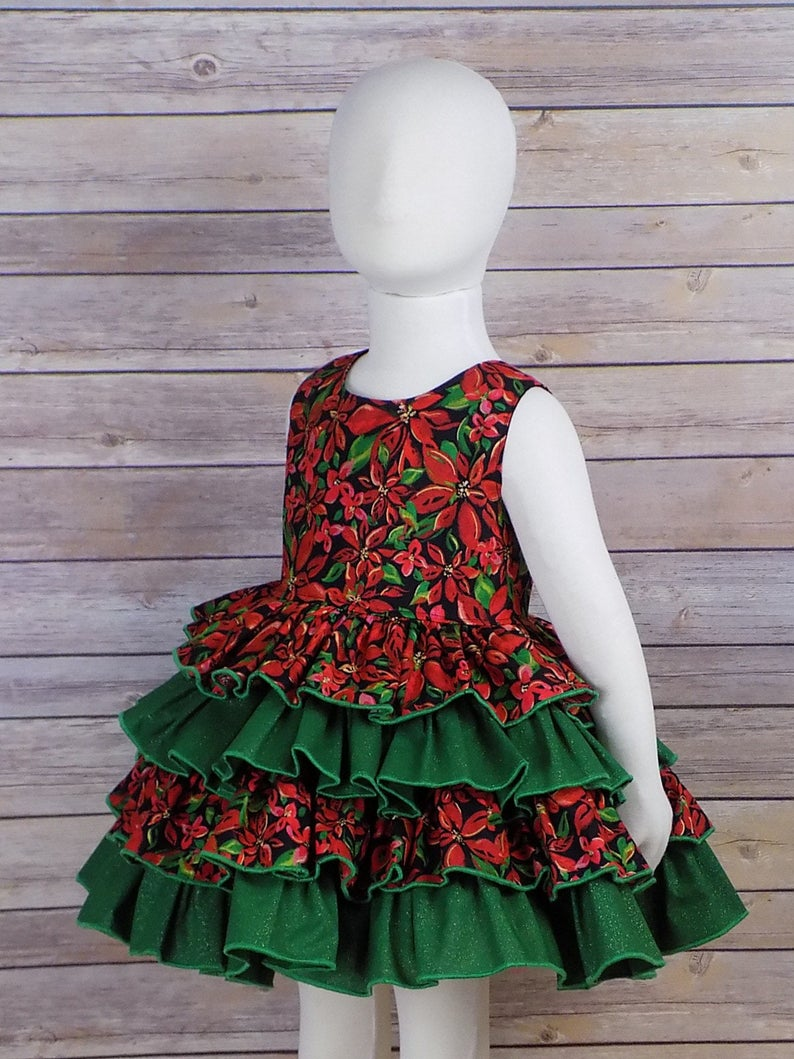 49d1f9861910 2T Girls Ruffle Dress Christmas Dress READY to SHIP   Etsy