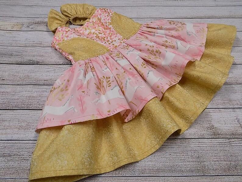 9eb60b4cc 2T Toddler Unicorn Dress READY to SHIP Girl Pink Gold
