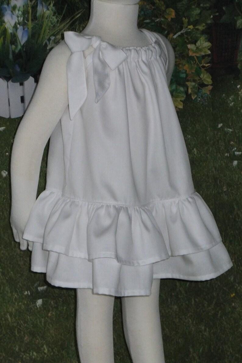 54d5a22b27 Girl White Beach Dress White Cotton Dress Black Cream | Etsy