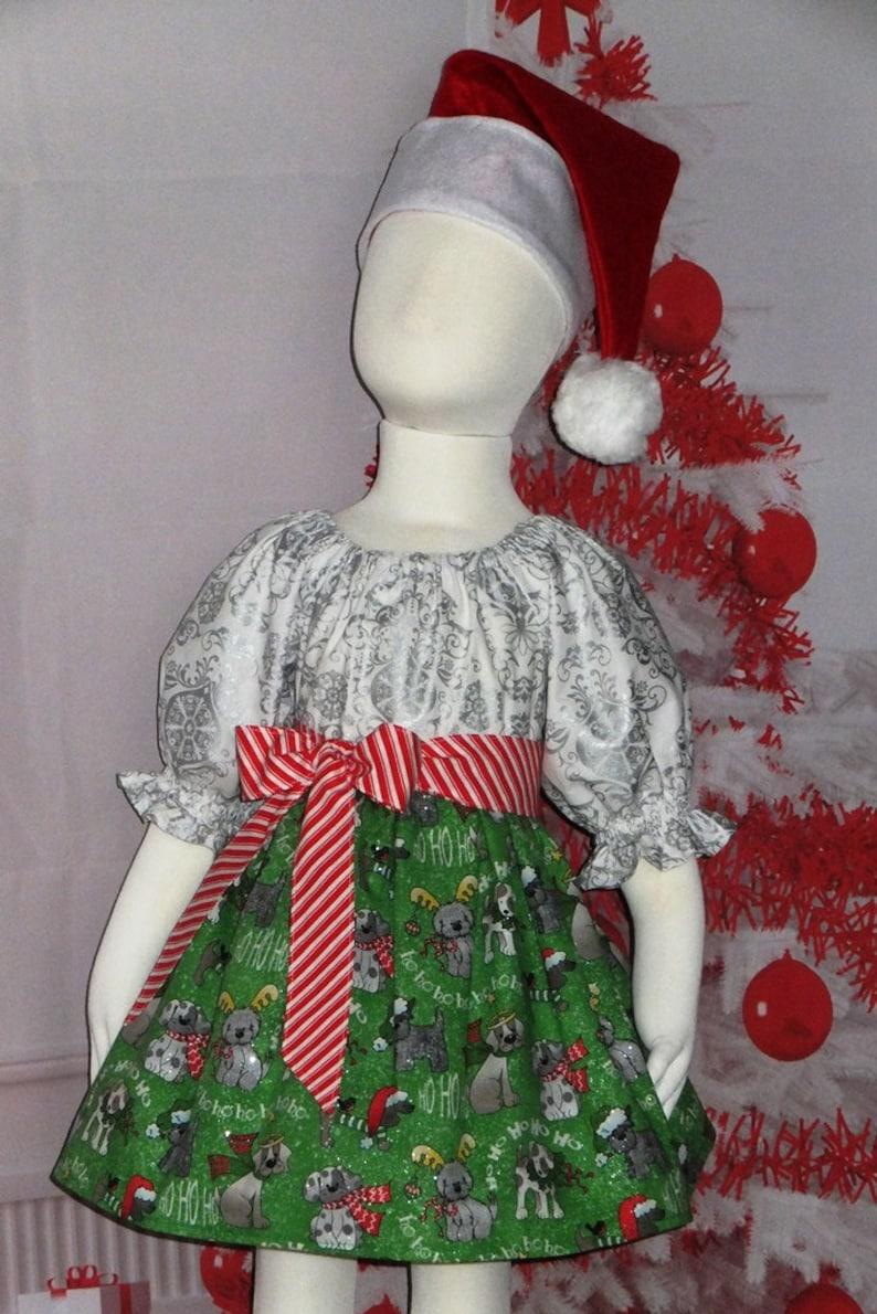 c10b6ba91329 Christmas Dress Girls Green Toddler Dogs Boutique   Etsy