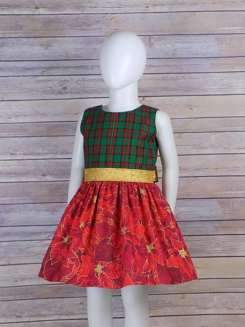 b6969463a551 Red Green Christmas Dress Plaid Christmas Dress Girls | Etsy