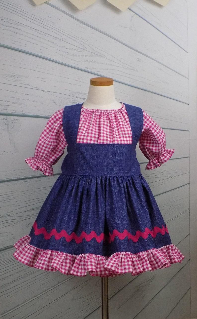 0fe787803f9e8 Pink Denim Dress Girl Western Dress Country Pageant Denim