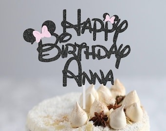 Happy Birthday Cake Topper   Personalized Cake Topper   Mouse Ear Cake Topper