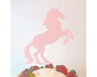 Unicorn Cake topper, Unicorn Birthday, Magical Birthday Theme, Unicorn Decorations, Unicorn Horn Cake, Happy Birthday topper- 1 Cake Topper