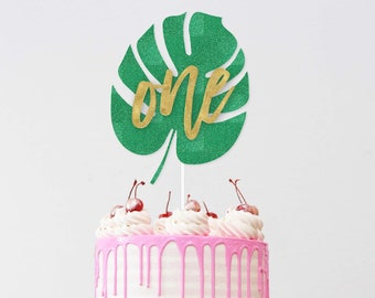 Tropical Party Cake Toppers Green Leaf Cupcake Jungle Birthday Party Decoration