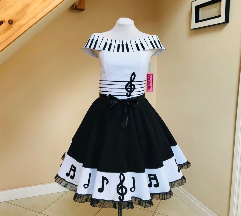 1950s rockabilly piano circle swing dress with music notes, retro mid  century dress music notes dress