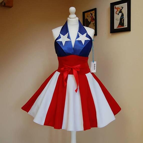 Inspir par captain america robe uso fille etsy - Captain america fille ...