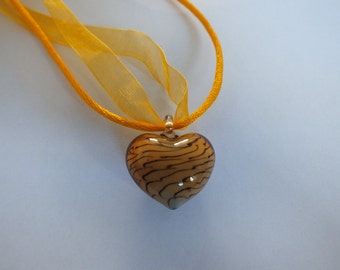 Puffed Lampwork Heart Glass Necklace