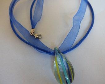 Teardrop Lampwork Heart Glass Necklace