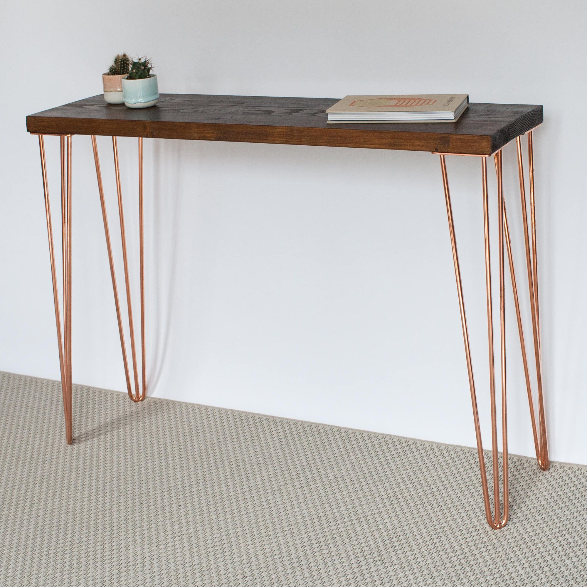 francis console table hairpin legs industrial copper etsy. Black Bedroom Furniture Sets. Home Design Ideas